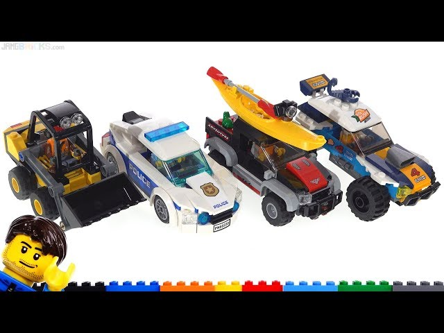 Four LEGO City set reviews! Desert Rally, Police Car, Kayak Adventure, Loader