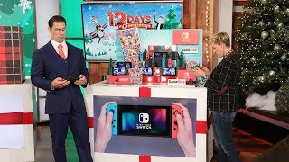 """""""Bumblebee"""" star John Cena was doing such a great job handing out the incredible gifts for 12 Days of Giveaways, Ellen graciously let him take over for Day 6!  Special thanks to: 'Carnival Games', Nintendo, Helix, Visa, Michael's, Amazon, Fairmont Scottsdale Princess, and Circuit.   #JohnCena #12Days #12DaysOfGiveaways"""