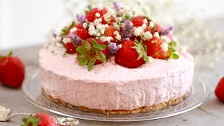 No-Bake Strawberry Cheesecake - Gemma's Bigger Bolder Baking Ep  125