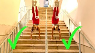 EXTREME GYMNASTIC STAIRS CHALLENGE! Twin vs Twin!
