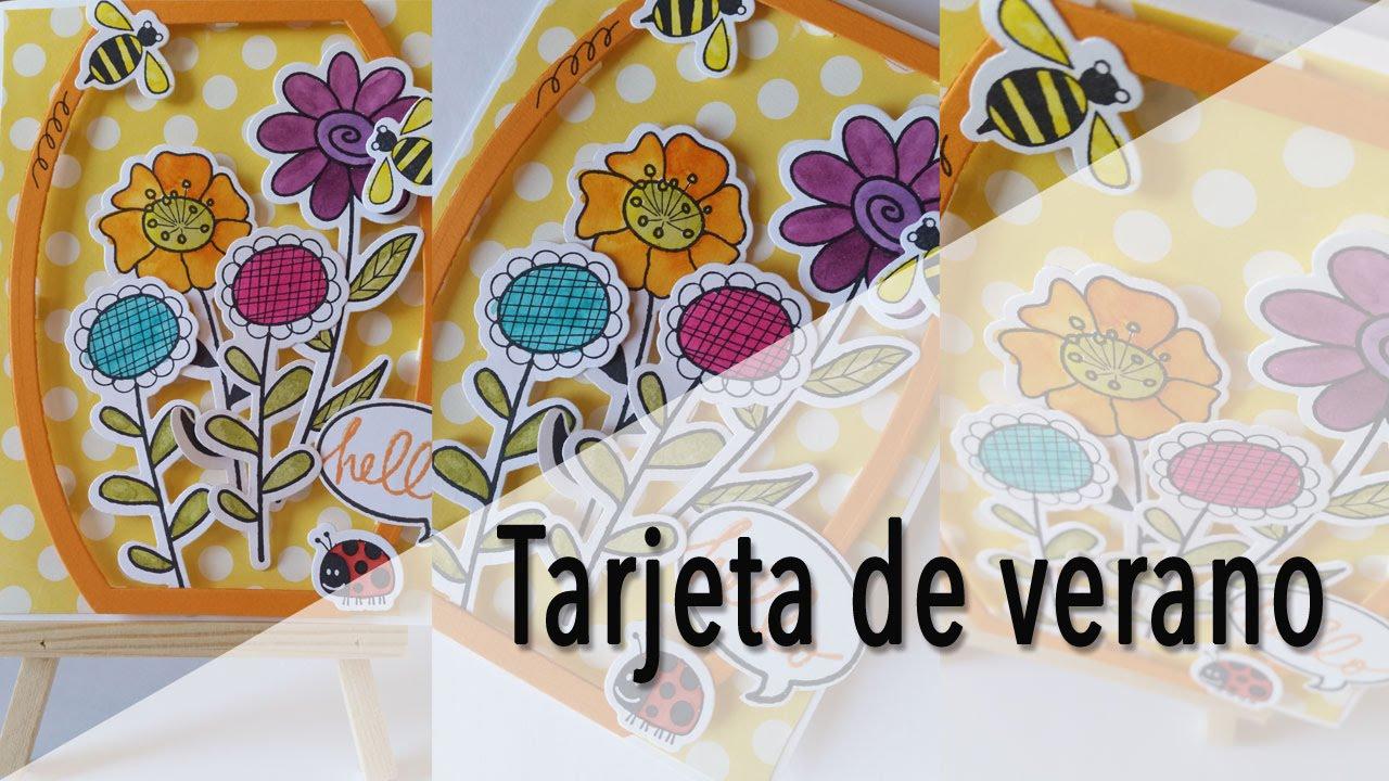 Cómo hacer tarjeta de verano. Cardmaking/Tarjeteria