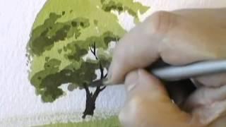 Смотреть онлайн Как рисовать акварелью дерево