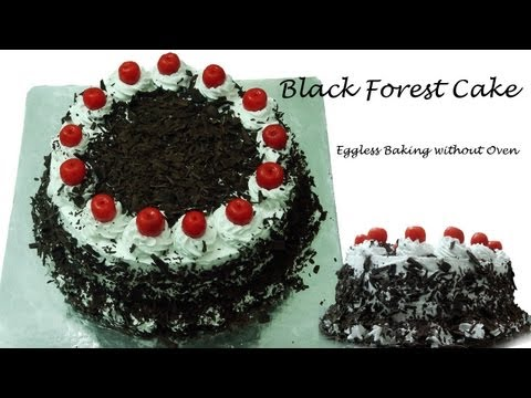 Video Black Forest Cake Recipe Without Oven - Cooker Cake | Eggless Baking without Oven