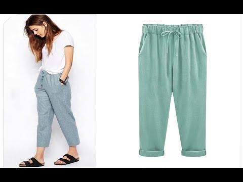 Модные женские штаны хлопковые, льняные с широким поясом брюки-карандаш