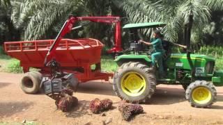 Pengangkutan TBS Kelapa Sawit Dengan Traktor (Crane Grabber Dan Sccisor Lift)