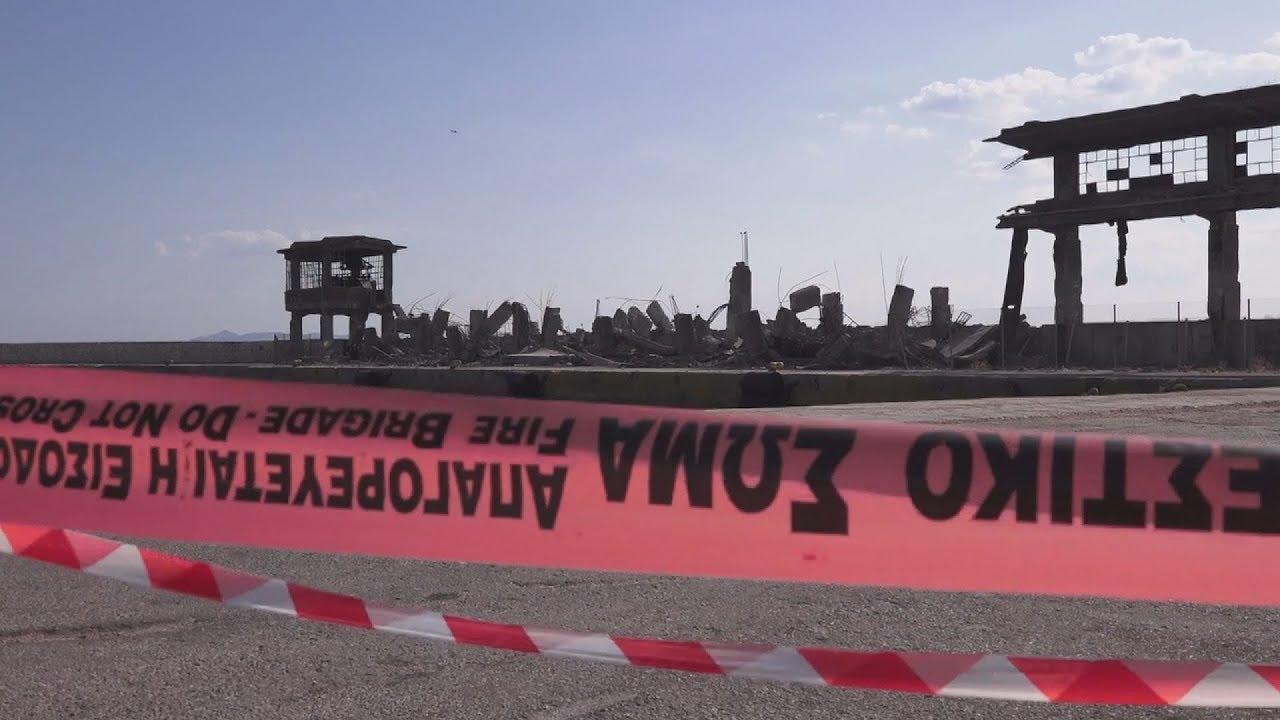 Κατέρρευσε απο το σεισμό μέρος του παλιού ταινιόδρομου στην πύλη Ε1 στον Πειραιά
