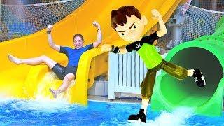 Видео для мальчиков - Бен 10 в аквапарке - Развлечения для детей