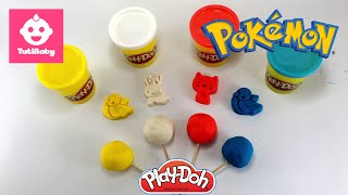 Play Doh Toys - Pokemon Surprise Eggs Unboxing 4 Color - 4K - TutiBaby