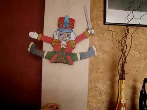 Wooden Jumping Jack puppet Nutcracker.  Cascanueces de madera