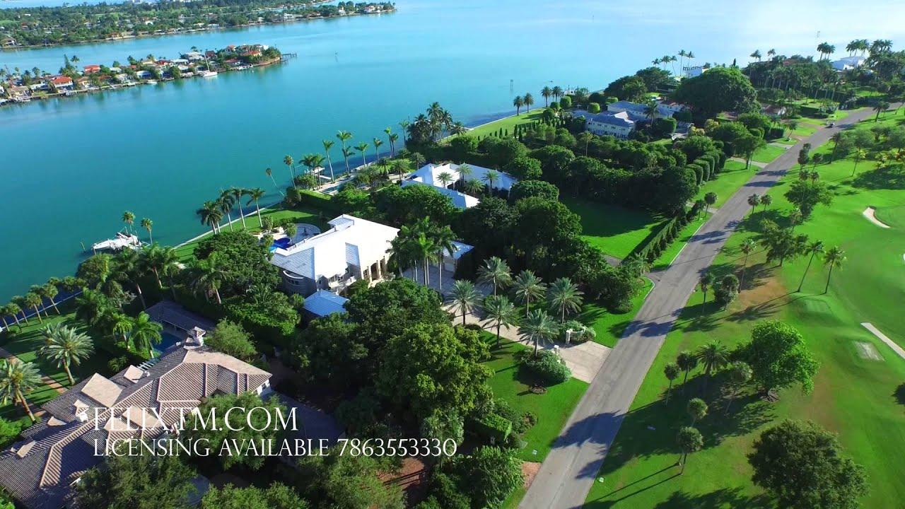 Aerial video of Indian Creek Miami Beach