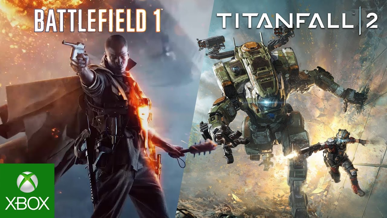 Split scene with Battlefield 1 character pointing pistol and the other side showing an Titanfall player with his mecha running in battle