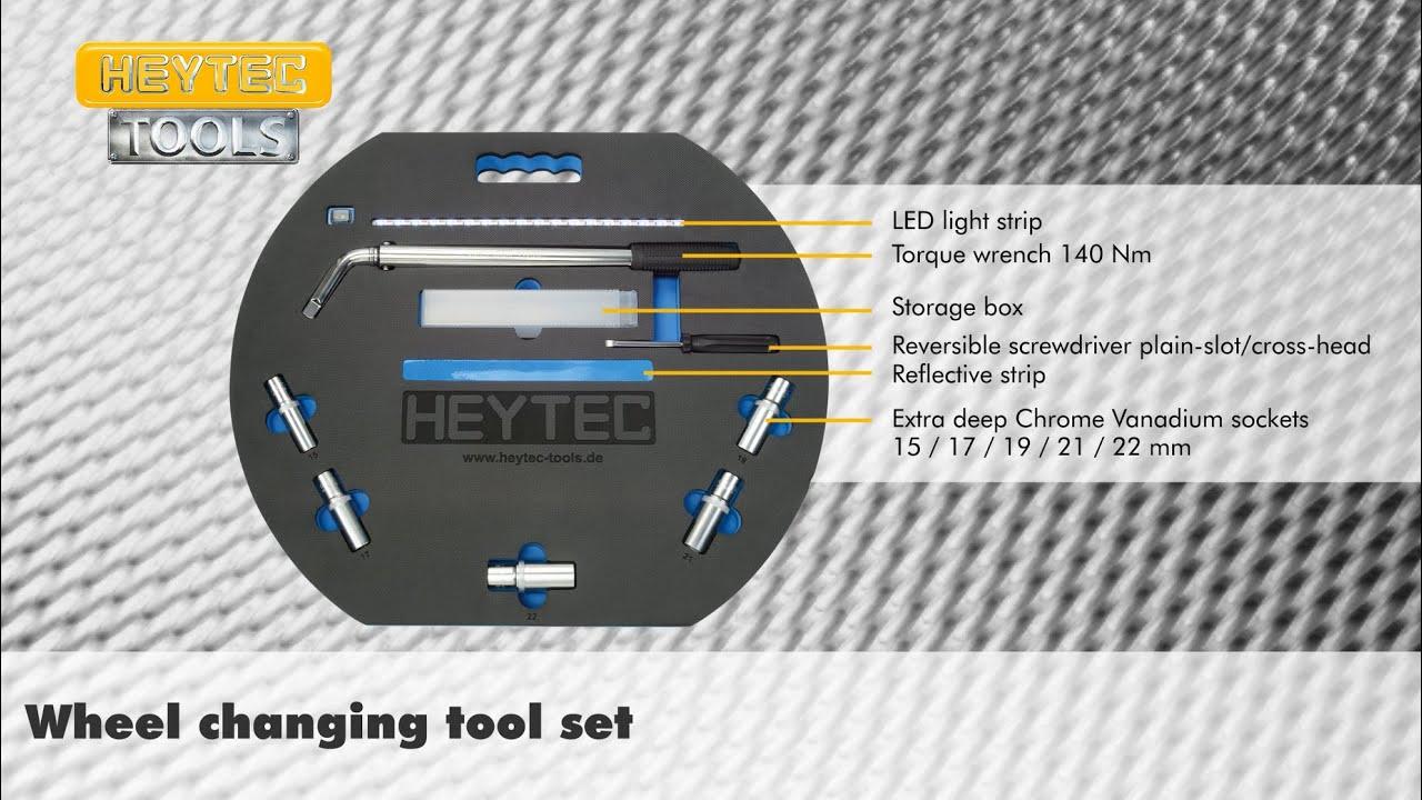 Видео: Комплект инструменти за смяна на гуми на HEYTEC