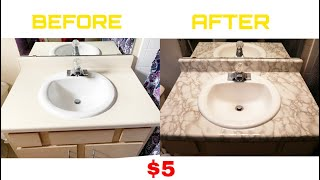 Transforming Bathroom Sink! : DIY With Marble Contact Paper