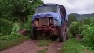 Old Mercedes Benz Truck Travelling On Terrible Condition Off Road Of Ambositra In Madagascar