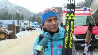 Виктория Сливко после женской эстафеты 5ого этапа Кубка мира по биатлону в Рупольдинге