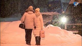 Великий Новгород вновь накрыл снегопад, грядут заморозки