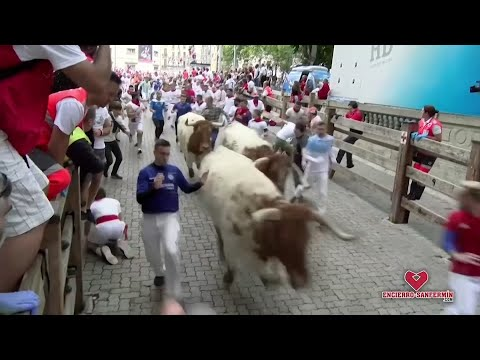 At least five people have been injured in the opening bull run of this year's San Fermin festival in the northern Spanish city of Pamplona on Sunday. (July 7)