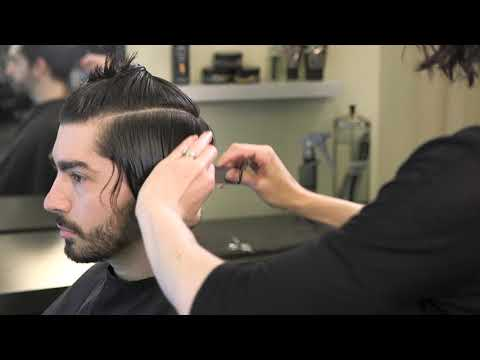 Classic men's medium length haircut with shear & clipper