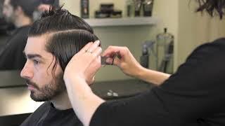 Classic Mens Medium Length Haircut With Shear & Clipper
