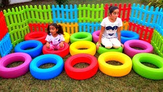 Esma and Asya fun games with colored wheels for kids video