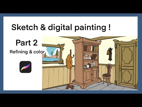 How to draw anime Interior design with procreate : part 2