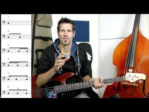Not0201 – Notenlesen #1 (Rhythmische Figuren) – German Bass Lesson Tutorial