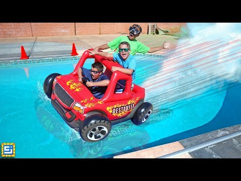 Giant Floating Inflatable RC Car Swimming Pool Adventure!