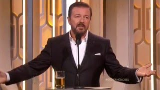 Ricky Gervais Hosting Golden Globes 2016- All his funny bits and monologue edited together