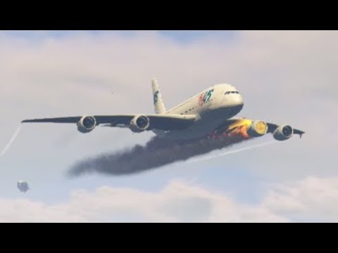 "Airplane 'a380' ""Emergency Landing"" At Mighty Flying Helicarrier (GTA 5 Funny Moments)"