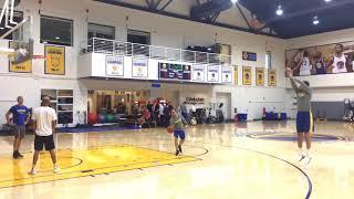 Steph Curry kickball shot plus Omri Casspi shooting routine at Warriors morning shootaround b4 CHI | Kholo.pk
