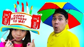 Emma & Jannie Pretend Play Funny Hats Challenge Kids Video Toys And Colors