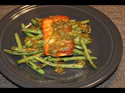 Home Chef - Roasted Salmon with Ginger-Scallion Sauce  and Charred Green Beans