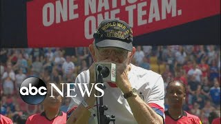 96-year-old WWII vet performs at US soccer match