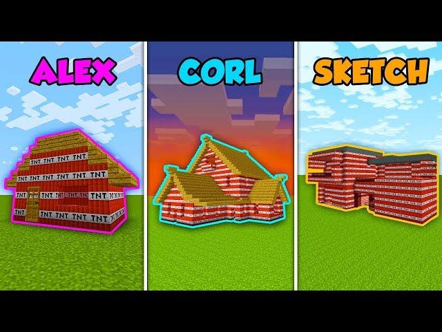 ALEX vs CORL vs SKETCH - TNT HOUSE in Minecraft! (The Pals