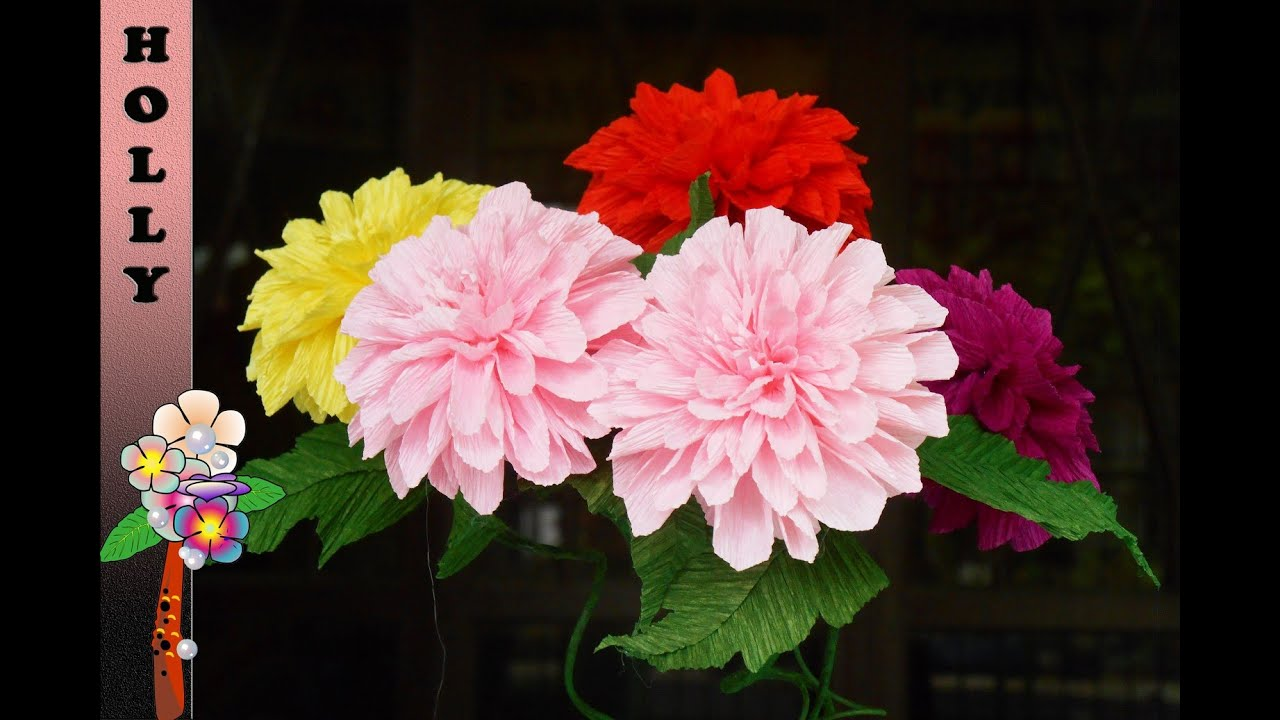 How To Make Paper Flowers Dahlia Tissue Paper Flowers Holly Craft