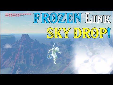 FROZEN Link SKY DROP! Link Shattered into 1000 pieces in Zelda Breath of the Wild