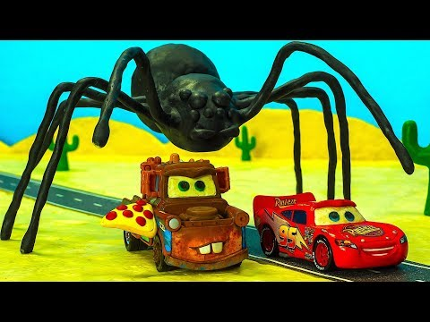 UFO Mater Finds PIZZA & SPIDER Lightning McQueen Becomes A Giant Cars Stop Motion Animation Cartoon