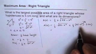 Calculus Maximum Right Triangle Area