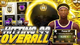 FIRST 99 OVERALL REBOUNDING STRETCH REACTION! LEGEND BADGE UNLOCKED! BEST 99 BUILD IN NBA 2K19