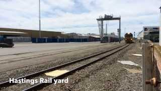 preview picture of video 'Freight train leaving Hastings Railyards travelling south'