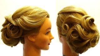 Смотреть онлайн Элегантная прическа на свадьбу для длинных волос