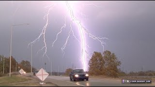Lightning barrage, hail & tornado from November supercell - St. Louis area