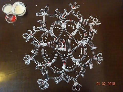 aripan rangoli design beautiful flowers by maithili