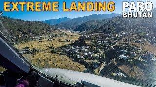 Pilotsview EXTREME LANDING A319 into Paro Bhutan