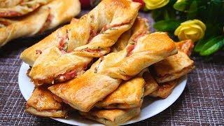 Быстрые слойки с сыром и колбасой, готовлю, когда быстро хочется вкусненького