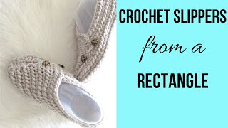 Easy Crochet Slippers From A Rectangle