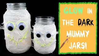 KIDS HALLOWEEN CRAFTS- GLOW IN THE DARK MUMMY MASON JAR!