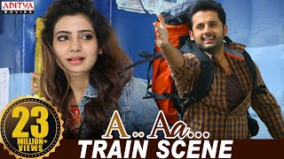 A Aa Scenes || Samantha Nithiin Train Scene | Nithiin, Samantha | A Aa (Hindi Dubbed Movie) - Download this Video in MP3, M4A, WEBM, MP4, 3GP