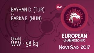 Qual. WW - 58 kg: E. BARKA (HUN) df. D. BAYHAN (TUR) by TF, 12-2