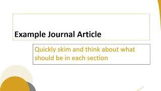 Understanding Statistics and Journal Articles